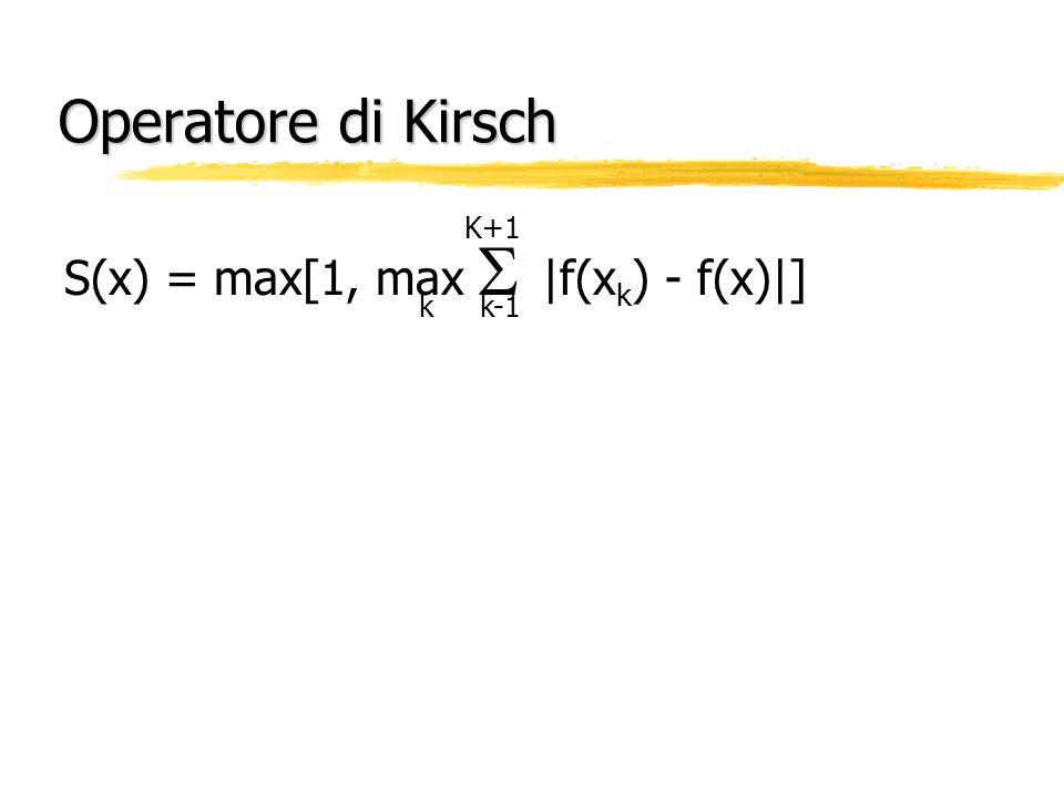 Operatore di Kirsch K+1 k k-1 S(x) = max[1, max  |f(xk) - f(x)|]